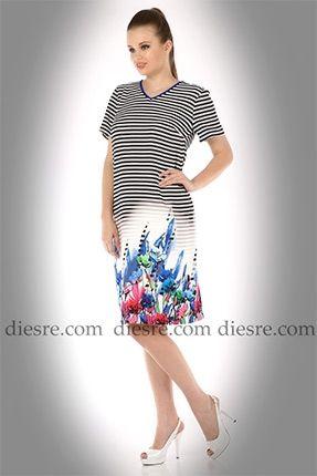 Çizgili Desenli Elbise