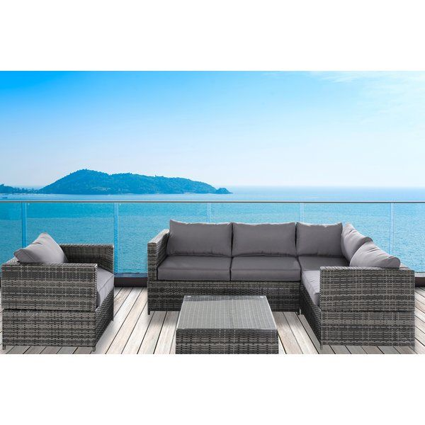 Create a peaceful haven in all four seasons with this vibrant outdoor sectional sofa set. PE Wicker Rattan Pool Patio Garden 4 Piece Sectional Seating Group with Cushion can be used for both indoor and outdoor. Modern and stylish lines, this set offers comfortable and exceptionally stunning outdoor lounging. It has a modern style that enhances the look of the decor. Made from steel, the frame of this seating group provides durability and sturdiness. The woven resin wicker material enhances…