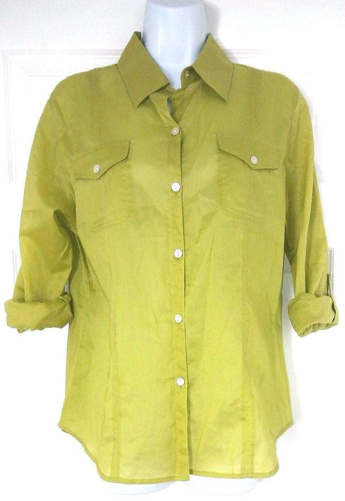 32cde608 Chicos Womens Blouse Size 0 Small Green Button Down Shirt Danielle Long  Sleeve #Chicos #Blouse