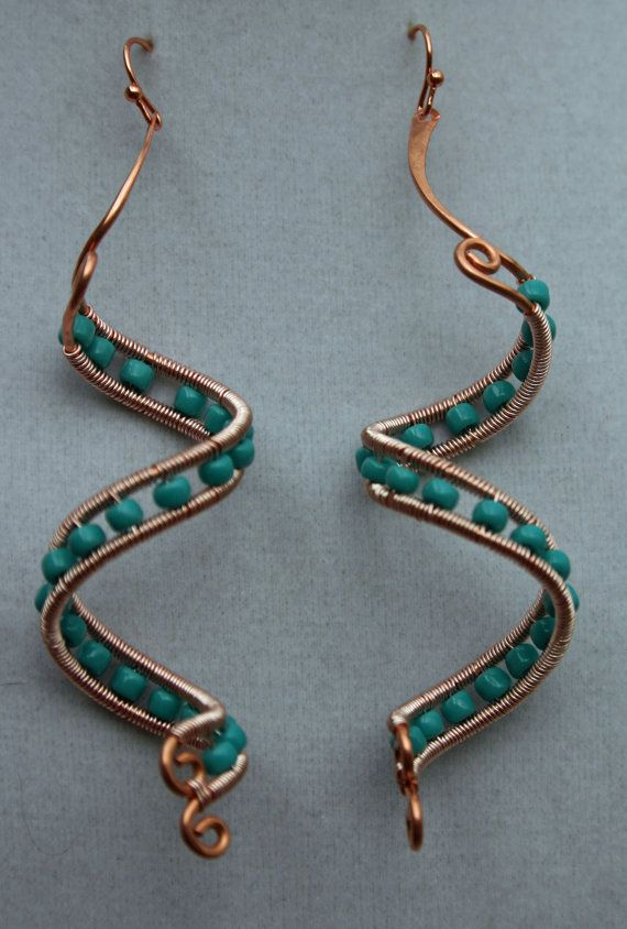 copper spiral wire wrapped beaded dangle earrings crafts