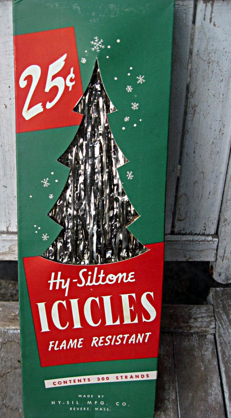 50s Christmas tree silver foil strips that we hung a few at