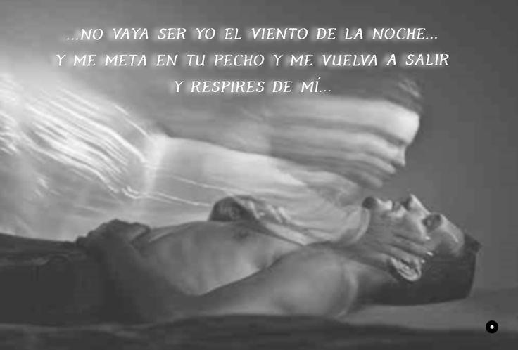 Hoy procura que aquella ventana que mira a la calle en tu cuarto se tenga cerrada, porque no vaya ser yo el viento de la noche y te mida y recorra la piel con mi aliento, y hasta te acaricie y te deje dormir. Y me meta en tu pecho y me vuelva a salir y respires de mí... Porque no vaya a ser que cansado de verte me meta en tus brazos para poseerte y te arranque las ropas y te bese los pies. ~Ten miedo de mí (fragmento). Fernando Delgadillo. 1993