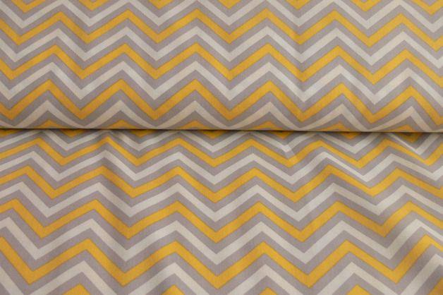 Stoff grafische Muster - Camelot Fabric*Gray Matters More*Chevron grau-gelb - ein Designerstück von handmade-by-KaTe bei DaWanda