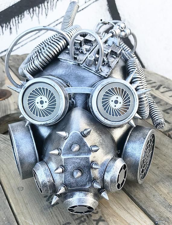 STEAMPUNK GAS MASK Distressed Silver Pewter Full Face Post Apocalyptic Gas Mask