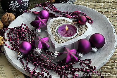 Purple christmas decorations by Racamani, via Dreamstime
