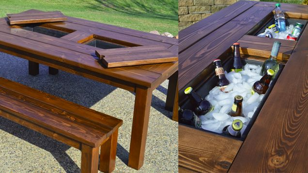 This DIY Patio Table Sports a Built-in Drink Cooler  I *wish* I had the means & ability to make this.