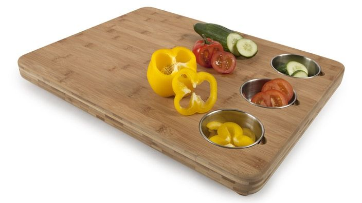 Core Bamboo Pro Chef Butchers Block with Built-In Prep Bowls