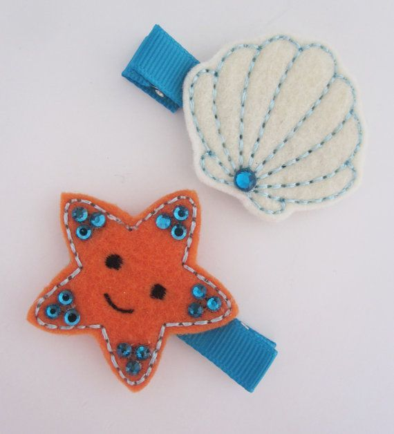 Ocean Theme Starfish and Clam Felt Baby Hair Clip Set - Summer Hair Clips- Baby Hair Bow - Newborn, infant, toddler Hair Clip on Etsy, $6.50