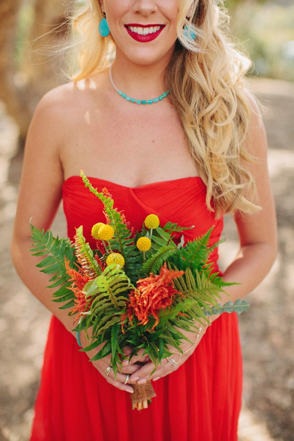 bright bridesmaids, photo by Matthew Morgan http://ruffledblog.com/southwestern-san-clemente-wedding #bridesmaids #ferns #wedding