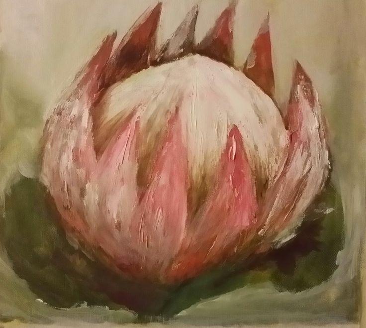 Protea using texture paste.