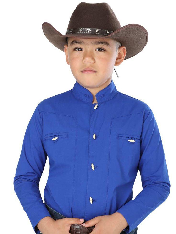 40368 Camisa Charra Niño El General, 65% Polyester,35% Algodon - Azul Cobalto