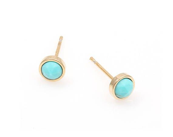 2pcs   High Polished Gold Plated with Turquoise Round 5mm