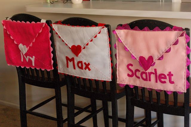 Love these - Chair back Valentine Envelope.  The author puts a small gift in each envelope for the first 13 days and then on Valentine's Day, her children get a book.  Sweet idea AND a great tutorial.