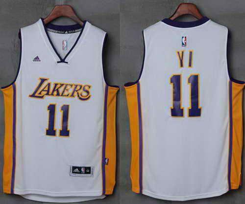 62c80790853 ... Alternate White New Swingman Jersey Lakers 11 Yi Jianlian White  Stitched NBA Jersey ...