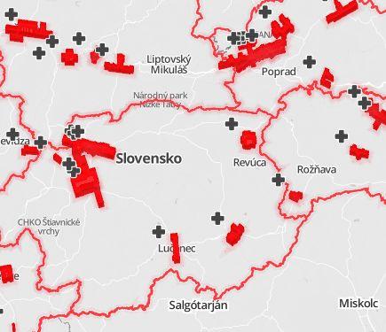 mapa hodnotenia slovenskych nemocnic podla prieskumu poistovne Dovera...