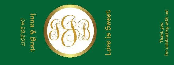 150 Candy Wrappers Labels for Hershey® Nuggets Personalized Monogram Emerald Green Gold Wedding