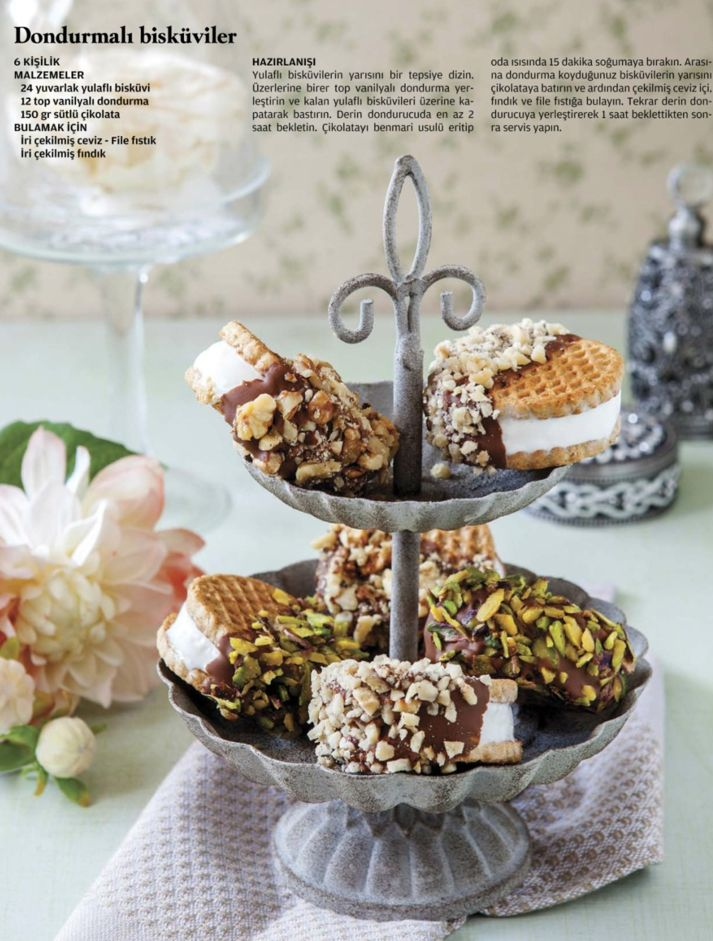 Ice cream biscuits with pistachios and nuts and choc