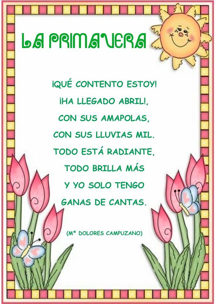 Poemas de primavera cortos | Poesías para niños | Pinterest ...