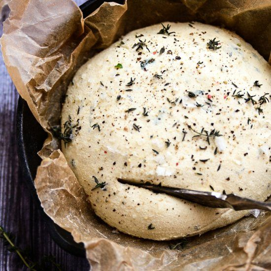 This creamy, spreadable homemade herbed cheese is incredible and completely cholesterol and dairy-free!,