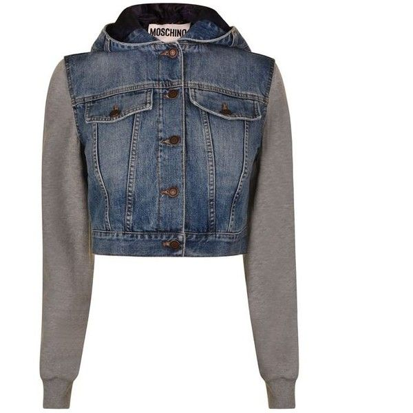 Moschino Cropped Denim Jacket (£313) ❤ liked on Polyvore featuring outerwear, jackets, denim, moschino, lined jean jacket, lined denim jacket, hooded jean jackets and denim jacket