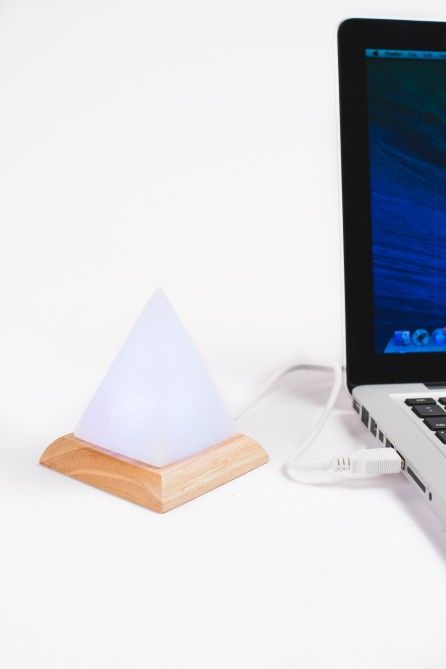Mini USB Powered Himalayan Salt Stone Lamp - Pyramid White with Color Changing Light - Earthbound Trading Co.
