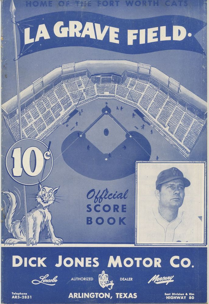 1951 ft. worth cats v. dallas eagles texas league baseball program from $35.0