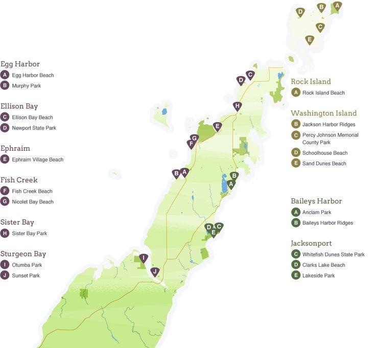 Beaches !  A map of Door county beaches
