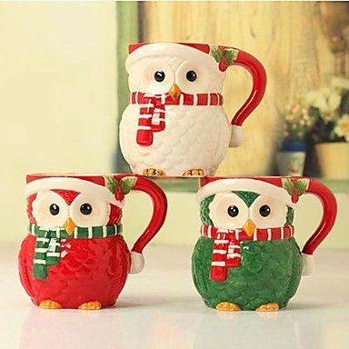 de dibujos animados de navidad tazas de forma búho para el regalo de cerámica, pintura, tres colores – USD $ 17.99