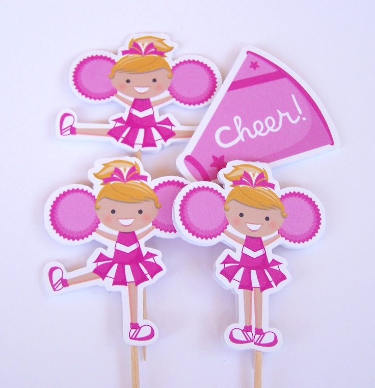 Cheer Party - Set of 12 Assorted Cheerleader Cupcake Toppers in Pink by The Birthday House. $6.00, via Etsy.