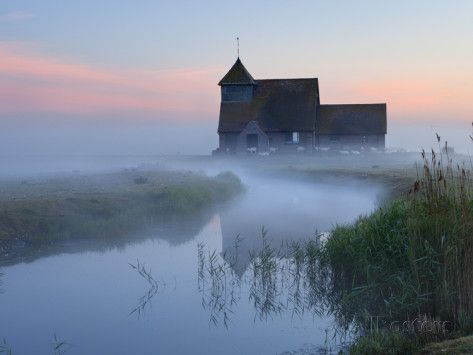 Fairfield Church in Dawn Mist, Romney Marsh, Near Rye, Kent, England, United Kingdom, Europe Photographic Print by Stuart Black - AllPosters.co.uk