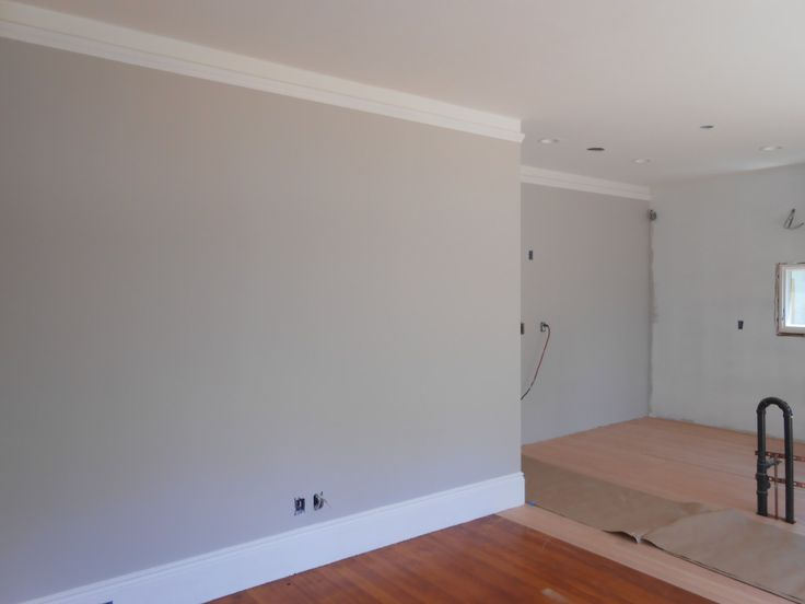 Benjamin Moore Nimbus on walls, BM Simply White on all trim and BM White Heron on ceiling