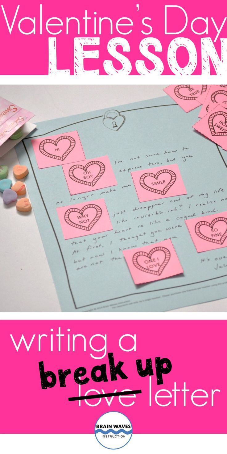 Instantly engage students with this fun Valentine's Day writing lesson.  Students will write a break up letter with conversation hearts.  Since this is just one of five Valentine's Day activities, you can easily capitalize on students' love for the holiday and keep them learning!