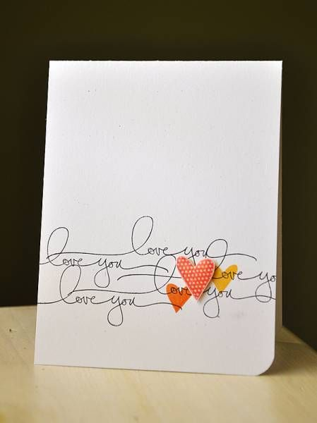 Stamping sentiment multiple times: Simple Valentines Cards, Cards Ideas, Negative Spaces, Sentiments Multiplication, Cas Cards Valentines, Handmade Valentines Cards, Papercraft Cards, Clean & Simple Cards, Stamps Sentiments