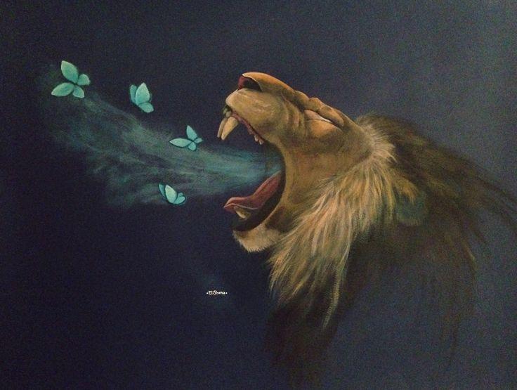 Лев из колена Иуды Lion the King Butterfly blue  Artist •EliSheva• https://m.vk.com/dreams_on_canvas