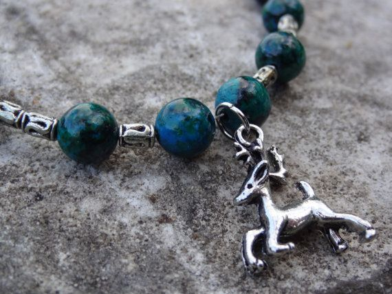 Green and Silver Beaded Necklace with Silver Running Deer Pendant