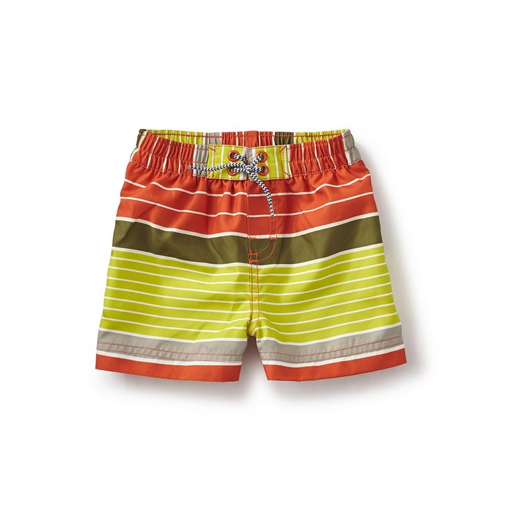 Beach Stripe Baby Swim Trunks | Sansone is an Italian boy's name that means sun. These swim trunks are perfect for having some serious fun in the sun.