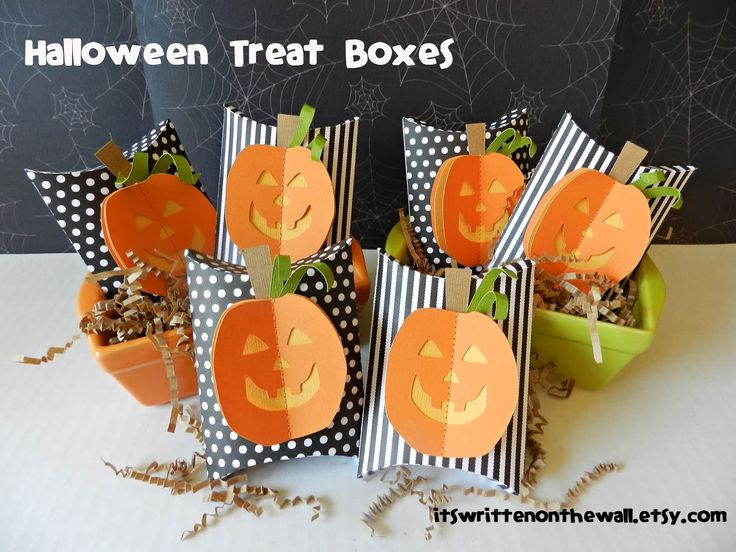 its written on the wall stitched halloween pumpkin treat box its a look stripes and pokadots gotta see - Diy Halloween Favors