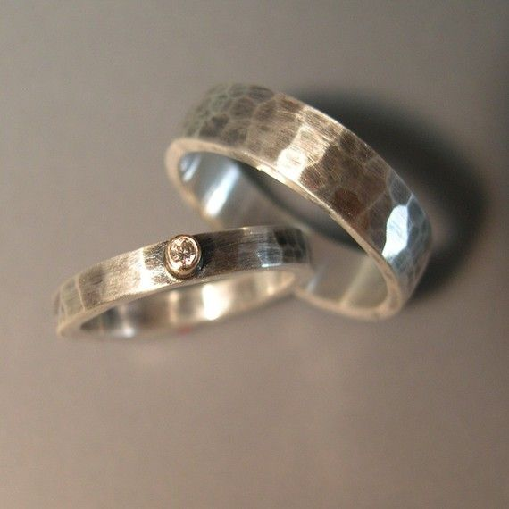 Hand Forged, Hammered, Wedding Bands - Sterling Silver, 14k Gold, Diamond on Etsy, $180.00