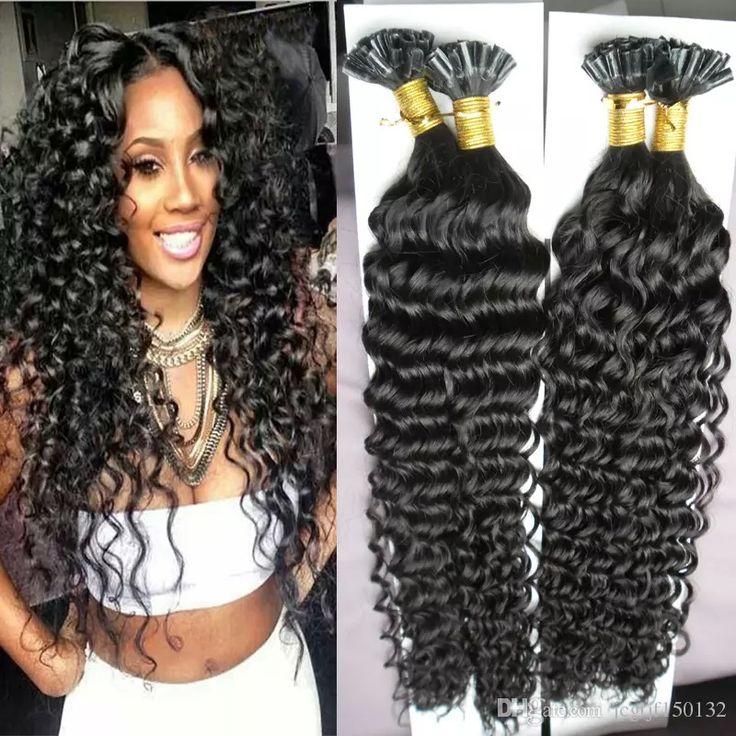 Brazilian curly Hair Keratin Stick Tip Hair Extensions