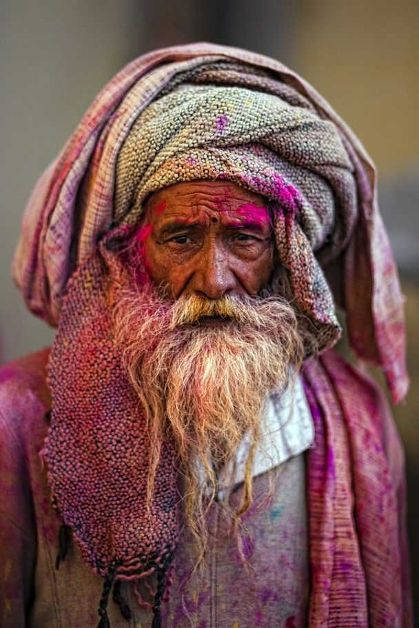 Holi festival - by Antonio Gibotta - Traveler Photo Contest 2013 - National Geographic (people, portrait, beautiful, photo, picture, amazing, photography, man, beard, turban)