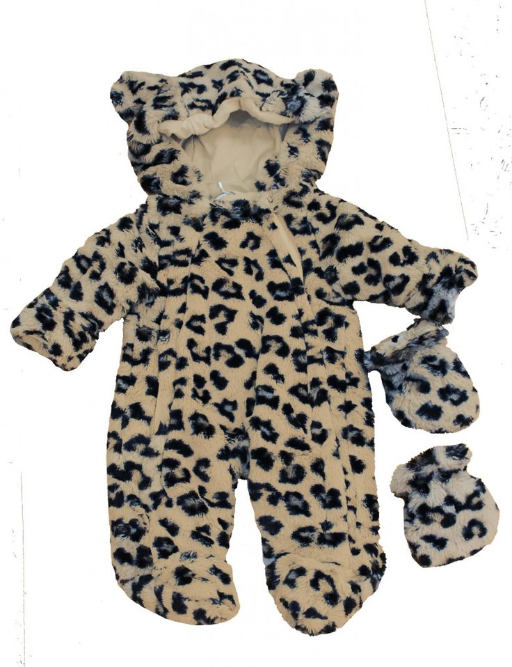 Leopard Print Baby Snowsuit | Animal Snowsuit With Ears | Cute Snowsuits