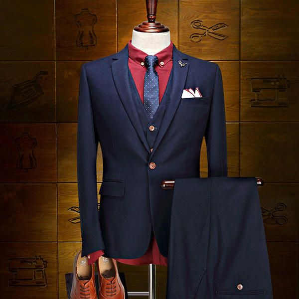 Formal Business Trade Groom Wedding Slim Fit 3 Pieces Dress Suits for Men at Banggood