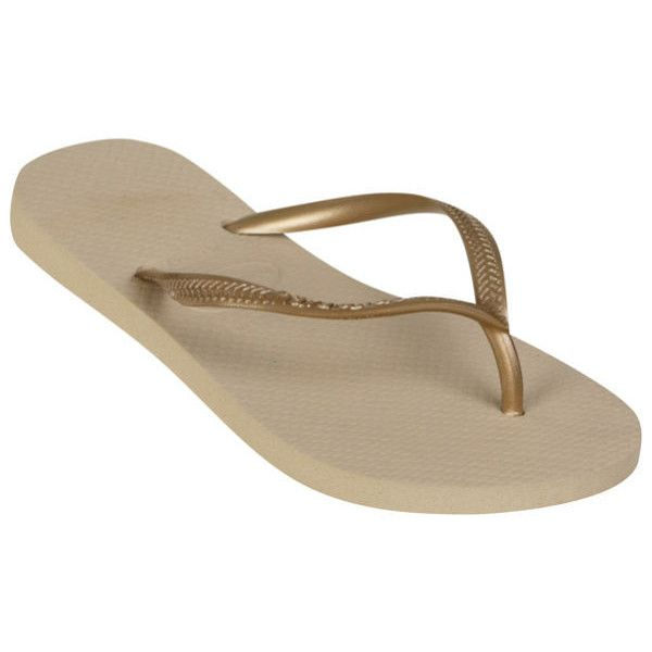20e743cfc Havaianas Women s Slim Flip Flops - Sand Grey Light Golden ( 27) ❤ liked on  Polyvore featuring shoes