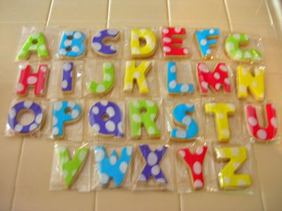 Activities for party... Alphabet cookies, hopscotch, bookmaking, etc.