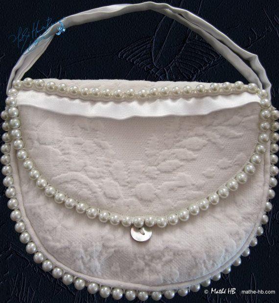smart bag jewelry pearls ivory vintage cotton par MatheHBcouture