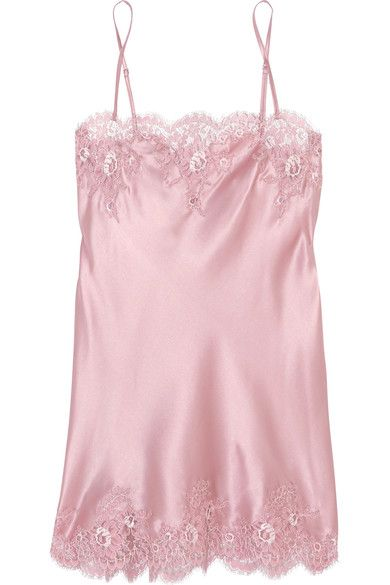 I.D. Sarrieri - Tendresse Chantilly Lace-trimmed Silk-blend Satin Chemise - Pastel pink - x small