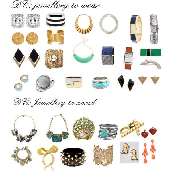 "Jewellery for Dramatic Classic by wichy on Polyvore | NOTE: Kibbe wrote, ""Jewelry should be sleek, elegant, and slightly chunky. Geometric shapes with sharp edges. Smooth circles that are crisp and oversized are possible. Earrings should be on the ear or spray up (not down or dangly). Necklaces should be crisply tailored and slightly chunky, and rest around the collarbone area. Moderate wrist cuffs are also possible. Remember: One elegant piece is quite effective on you!"""