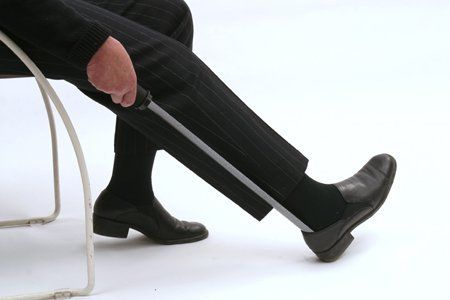 Offers an extended reach and a secure, cushioned grip. The Good Grips® built-up handle is made of a latex-free, rubber-like material with flexible ribbing that adapts to any grip. This handle is so unique, it carries a U.S. patent. Shaft is made of enameled steel. People who have limited mobility and difficulty bending over will appreciate the extra-long design. The textured surface prevents the foot from sticking to the shoehorn, helping it slide easily into the shoe.