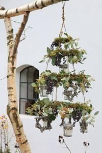 Werkbladen bloemschikken  o.a. deze 'kroonluchter'.
