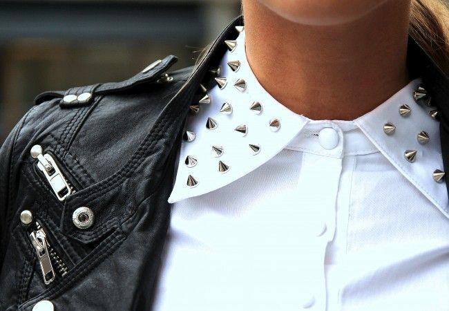 Kenza: Studs Collars, Studded Collar, Fashion, Spikes, Clothing, White Shirts, Street Style, Leather Jackets, Rocks